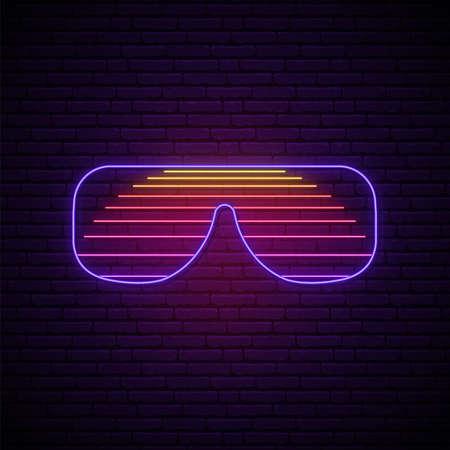 Neon shutter glasses sign. Bright light sunglasses emblen in retro 80s style. Vector illustration.