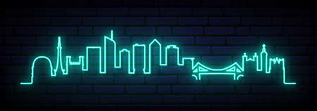 Blue neon skyline of Lyon. Bright Lyon City long banner. Vector illustration. 矢量图像