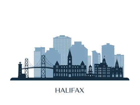 Halifax skyline, monochrome silhouette. Vector illustration. 矢量图像