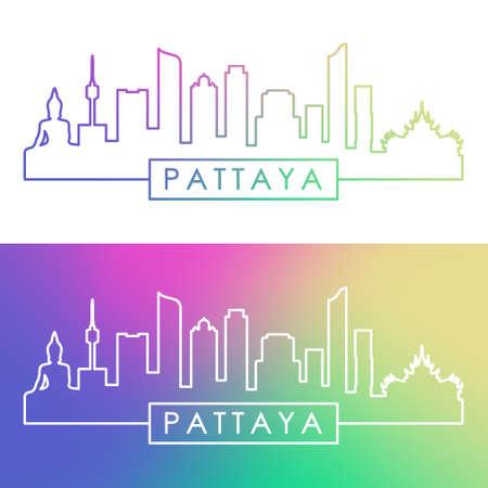 Pattaya skyline. Colorful linear style. Editable vector file.