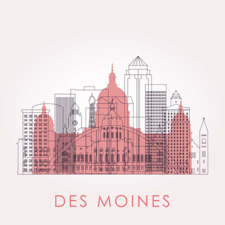 Outline Des moines skyline with landmarks. Vector illustration. Business travel and tourism concept with historic buildings. Image for presentation, banner, placard and web site. 向量圖像