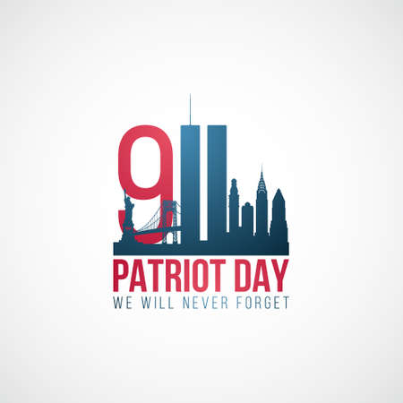 Twin Towers, 911. USA Patriot Day banner. World Trade Center. We will never forget. Stock vector illustration.