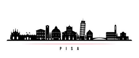 Pisa skyline horizontal banner. Black and white silhouette of Pisa, Italy. Vector template for your design. 向量圖像