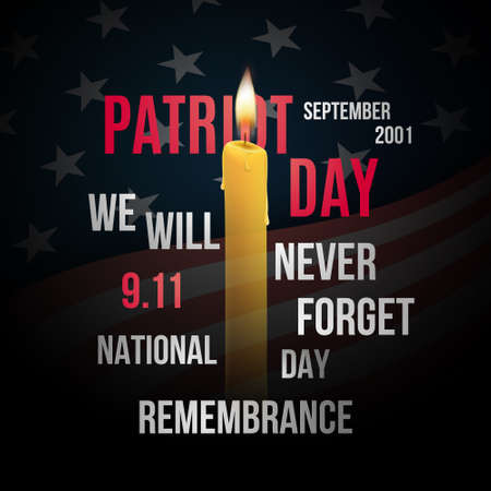 Vector concept design for Patriot day with flag of usa, candles and text. We will never forget, 9/11 remembrance day. Vector Illustratie