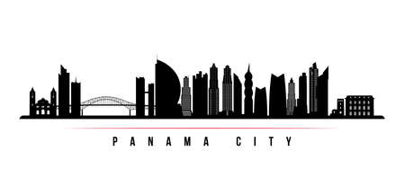 Panama City skyline horizontal banner. Black and white silhouette of Panama City, Panama. Vector template for your design.