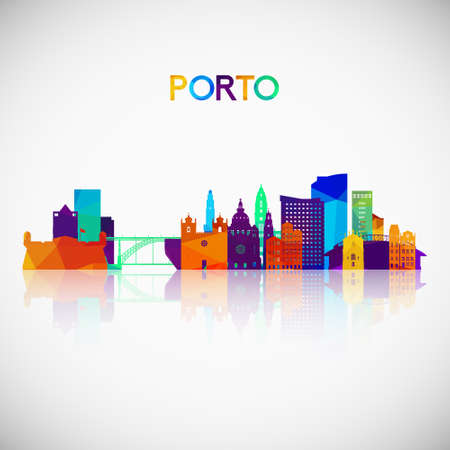 Porto skyline silhouette in colorful geometric style. Symbol for your design. Vector illustration. 矢量图像