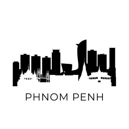 Phnom penh, Cambodia city skyline. Negative space city silhouette. Vector illustration.
