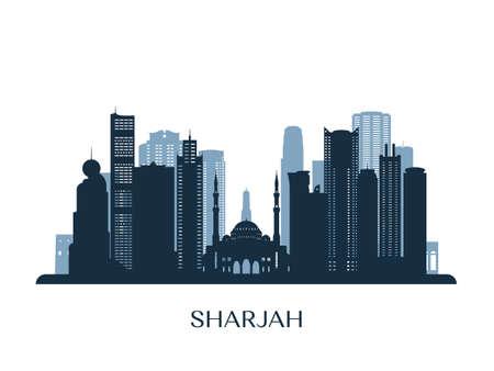 Sharjah skyline, monochrome silhouette. Vector illustration. Ilustración de vector