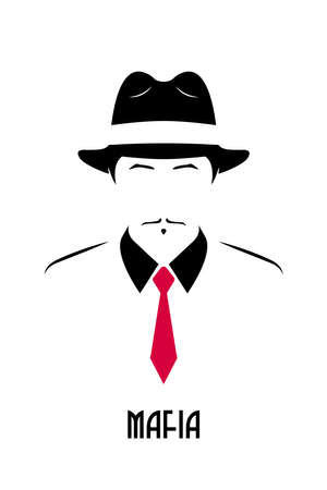 Gangster with mustache wearing a 1930s hat and red tie. Avatar of the Italian mafia. Stock vector illustration.