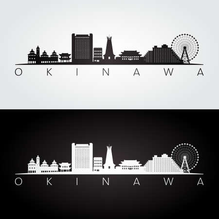 Okinawa, Japan skyline and landmarks silhouette, black and white design, vector illustration.
