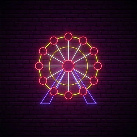 Neon Ferris wheel sign. Entertainment industry emblem in neon style. Glowing Ferris wheel icon on brick wall background. Vector illustration.