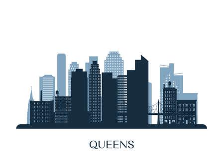 Queens skyline, monochrome silhouette. Vector illustration.