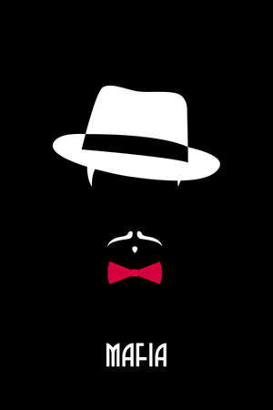 Italian Mafia man. Gangster emblem. Person in fedora hat and red bow tie. Vector design template.