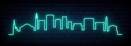 Blue neon skyline of Birmingham. Bright Birmingham City long banner. Vector illustration. Иллюстрация