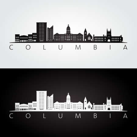 Columbia, Missouri skyline and landmarks silhouette, black and white design, vector illustration.