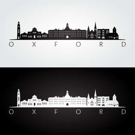Oxford, Ohio skyline and landmarks silhouette, black and white design, vector illustration.
