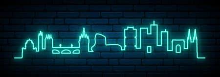 Blue neon skyline of Bordeaux. Bright Bordeaux City long banner. Vector illustration.