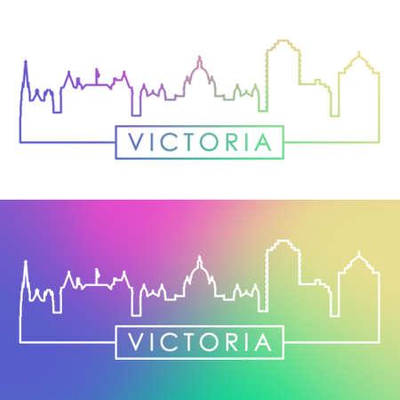 Victoria skyline. Colorful linear style. Editable vector file.