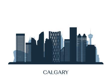Calgary skyline, monochrome silhouette. Vector illustration. Vettoriali