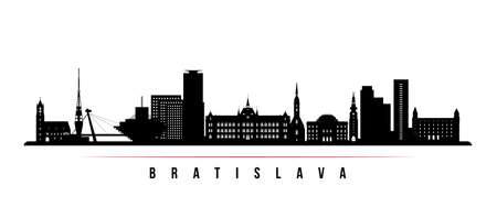 Bratislava skyline horizontal banner. Black and white silhouette of Bratislava City, Slovakia. Vector template for your design.