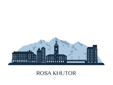 Rosa Khutor skyline, monochrome silhouette. Vector illustration. Vettoriali
