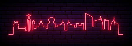 Red neon skyline of Lisbon. Bright Lisbon City long banner. Vector illustration.