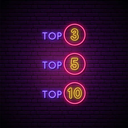 Neon rating signboard. Glowing symbols of Top 3, Top 5 and Top 10 things. Stock vector illustration in neon style. Иллюстрация