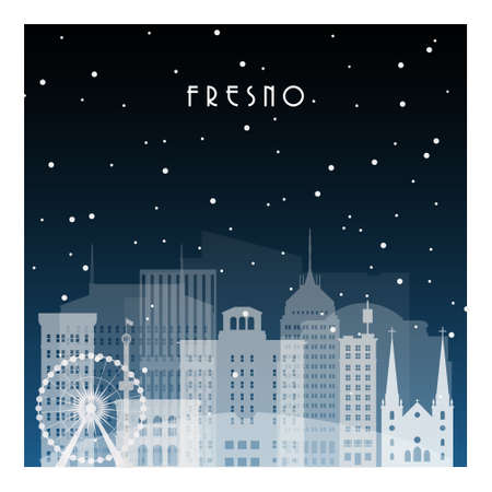 Winter night in Fresno. Night city in flat style for banner, poster, illustration, background.