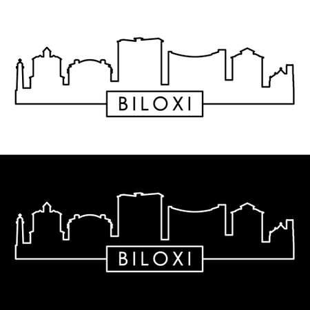 Biloxi skyline. Linear style. Editable vector file.