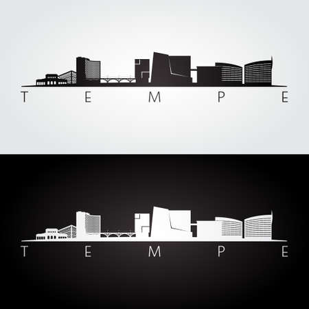 Tempe, Arizona skyline and landmarks silhouette, black and white design, vector illustration.