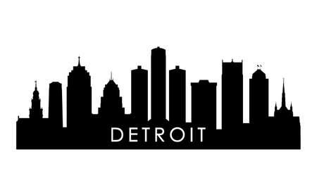 Detroit skyline silhouette. Black Detroit city design isolated on white background.