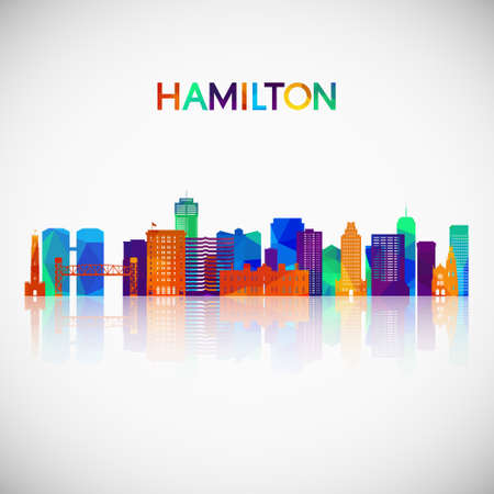 Hamilton skyline silhouette in colorful geometric style. Symbol for your design. Vector illustration.