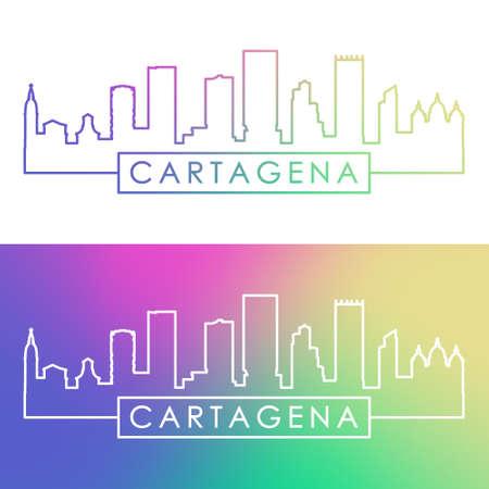Cartagena skyline. Colorful linear style. Editable vector file.