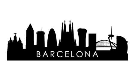 Barcelona skyline silhouette. Black Barcelona city design isolated on white background.