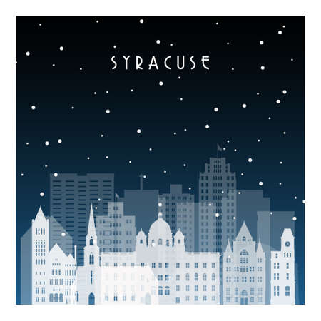 Winter night in Syracuse. Night city in flat style for banner, poster, illustration, background.