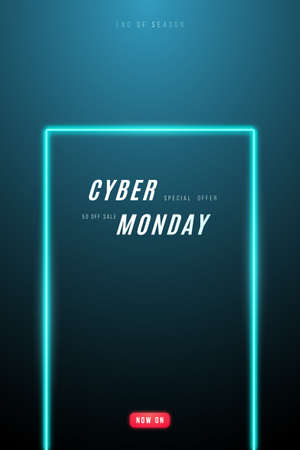 Cyber Monday promo design. Vertical template with neon frame and text for Cyber Monday monday sale. Stock vector illustration.