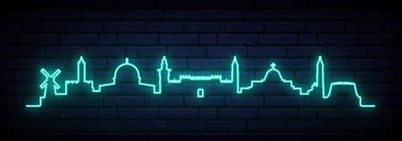Blue neon skyline of Jerusalem. Bright Jerusalem City long banner. Vector illustration.