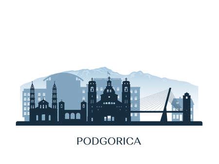 Podgorica, Montenegro skyline, monochrome silhouette. Vector illustration.