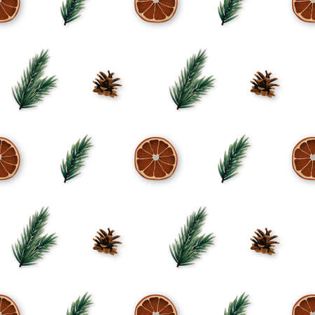 Christmas time seamless pattern with realistic fir tree branches, pine cones and orange slices. Vector repetitive background.