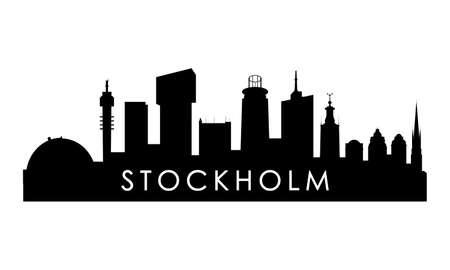 Stockholm skyline silhouette. Black Stockholm city design isolated on white background.