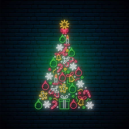 Neon Christmas tree made of balls, candles, snowflakes and gifts. Bright light signboard for winter holidays. Vector illustration.