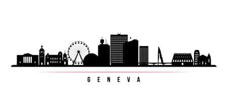Geneva skyline horizontal banner. Black and white silhouette of Geneva City, Switzerland. Vector template for your design. Vektorgrafik