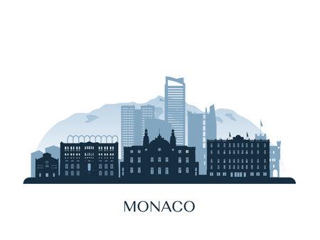 Monaco skyline, monochrome silhouette. Vector illustration. Illustration