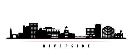 Riverside skyline horizontal banner. Black and white silhouette of Riverside City, California. Vector template for your design. Ilustração