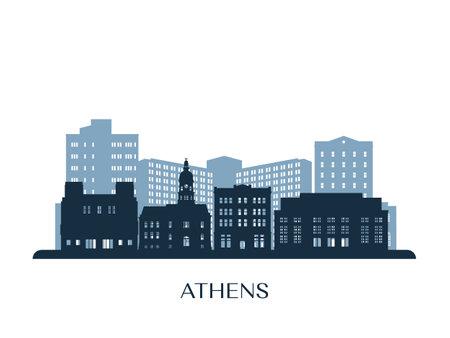 Athens, Georgia skyline, monochrome silhouette. Vector illustration.
