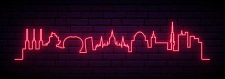 Red neon skyline of Hanover. Bright Hanover City long banner. Vector illustration.