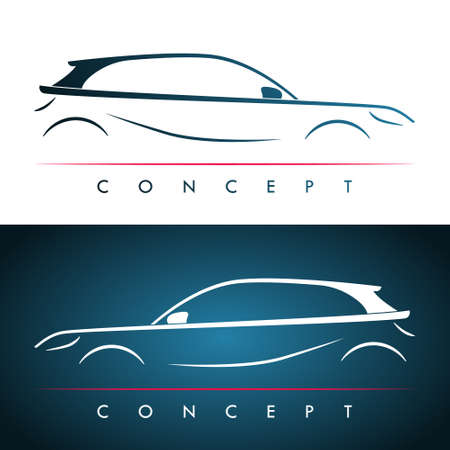 Car silhouette concept. Car design for banner, business cards and template. Stock vector illustration.