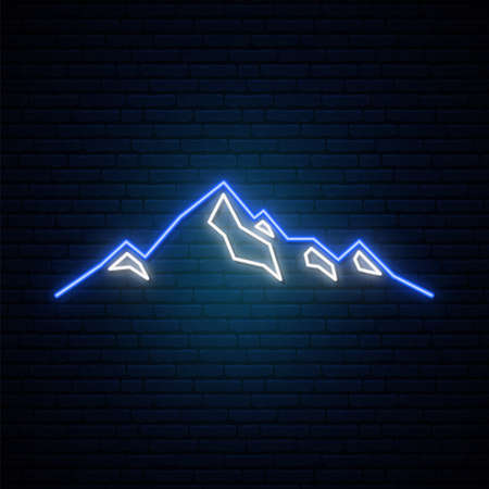 Neon Mountains icon on dark brick wall background. Bright tourist design. Vector illustration in neon style.