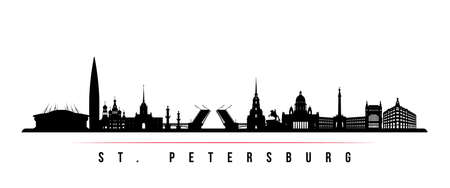 St. Petersburg skyline horizontal banner. Black and white silhouette of St. Petersburg, Russia. Vector template for your design.