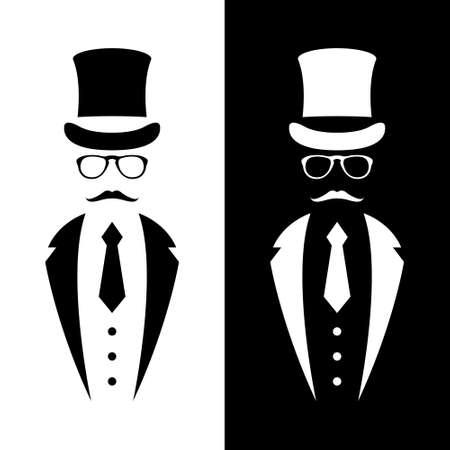 Gentleman wearing suit, retro hat, bow and glasses. Retro Tuxedo emblem. Black and white design for logo, web, banner. Vector illustration. Logo